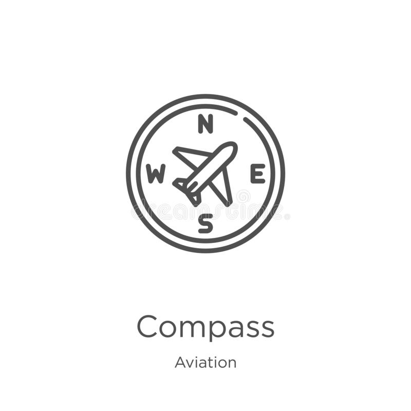 Compass icon vector from aviation collection. Thin line compass outline icon vector illustration. Outline, thin line compass icon. Compass icon. Element of stock illustration