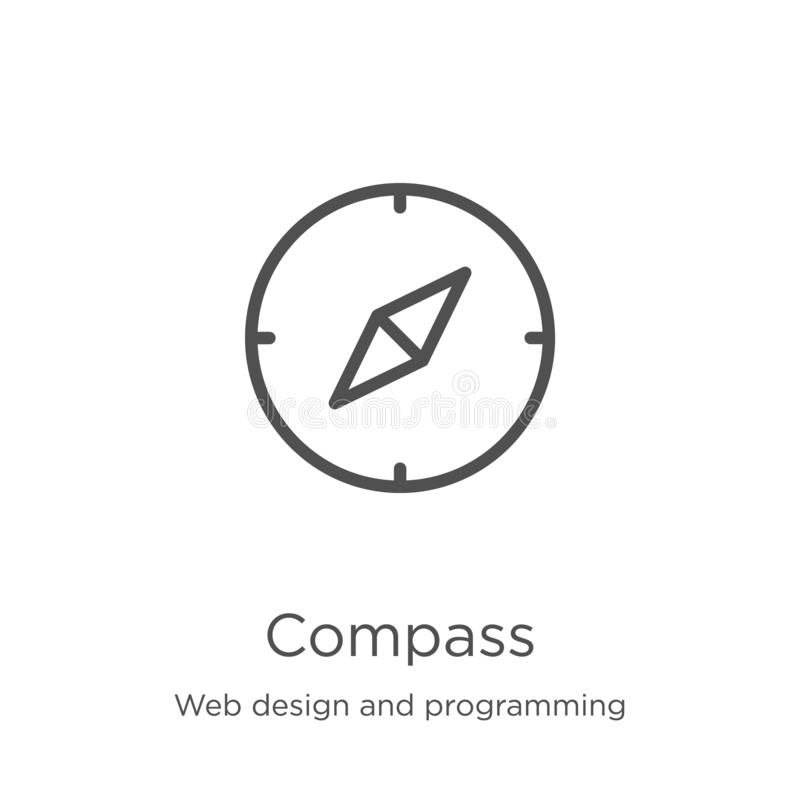 Compass icon vector from web design and programming collection. Thin line compass outline icon vector illustration. Outline, thin. Compass icon. Element of web vector illustration