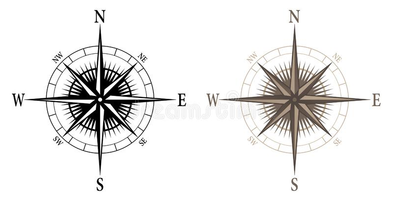 Compass, isolated vector illustration in both black and color versions vector illustration