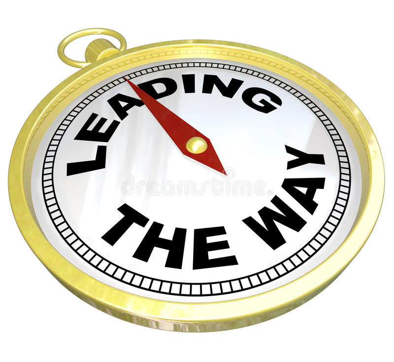 Compass - Leading the Way with Leadership of Group. A gold compass with the words Leading the Way illustrating the forward charging path of a visionary leader royalty free illustration