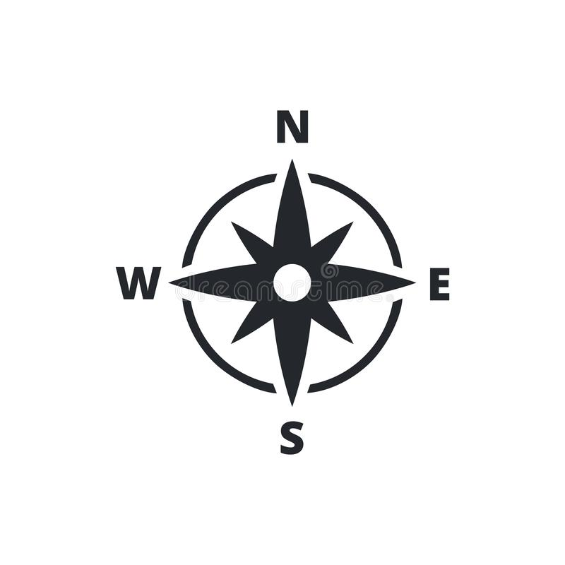 Compass Line Icon Vector Illustration. Isolated flat compass. Topography or sea navigation concept. Wind rose. stock illustration