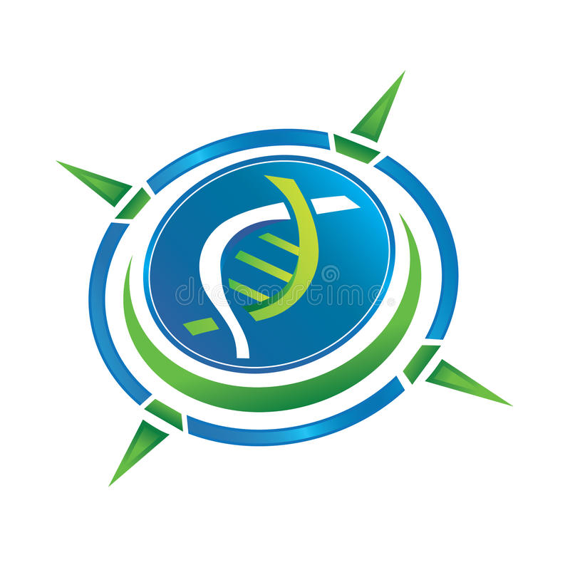 Compass Logo. Logo Compass with a DNA in the center