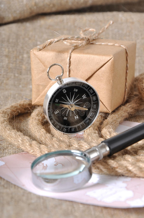 Compass and mail box stock images