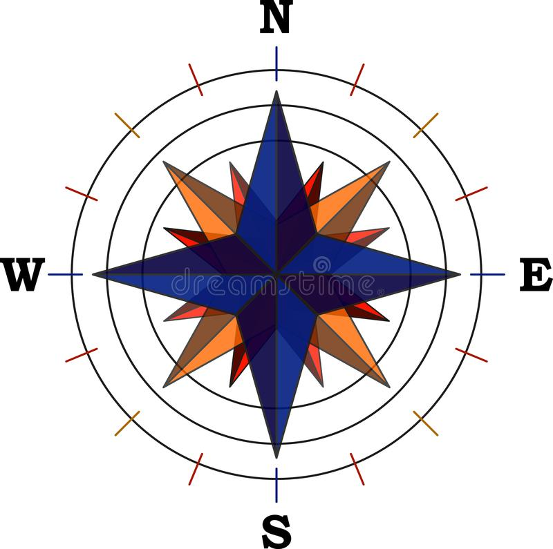 Compass with main cardinal points - vector stock illustration