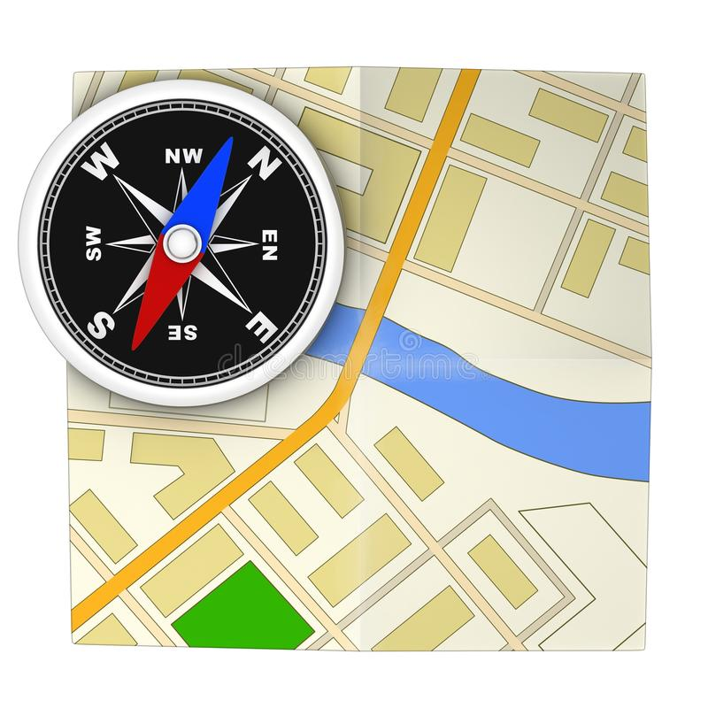 Compass and map royalty free illustration