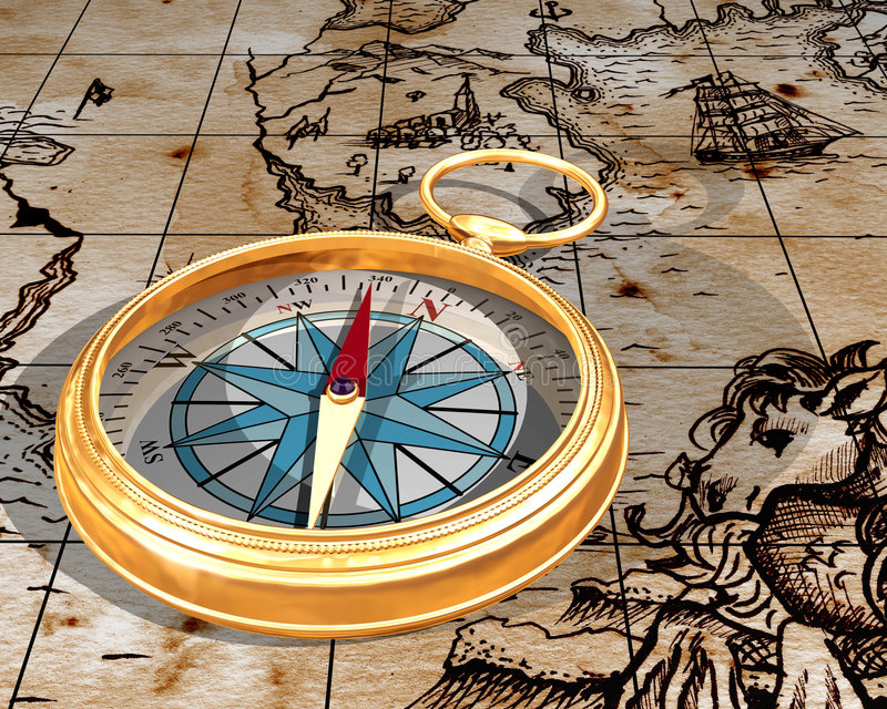 Compass on map vector illustration