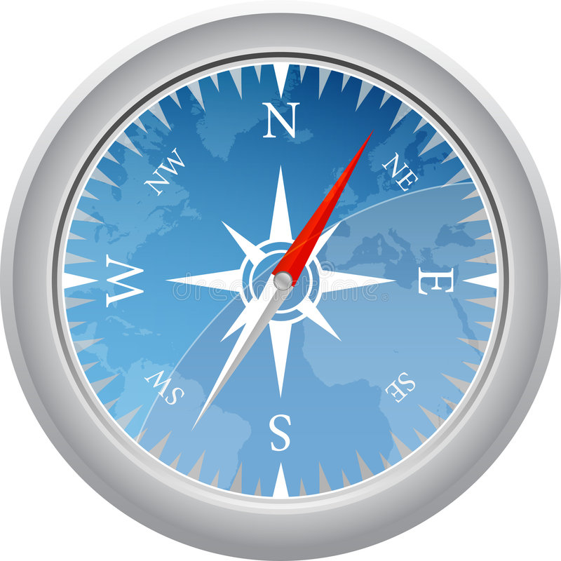 Compass with map stock illustration