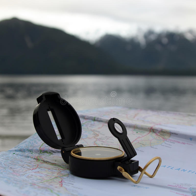 Download Compass and Map stock image. Image of cover, nautical - 38633903