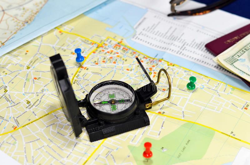 Compass on map royalty free stock photo