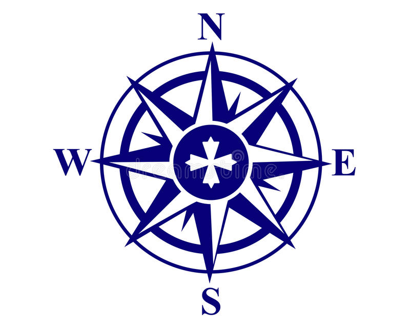 Compass. Mariners compass on a white background stock illustration