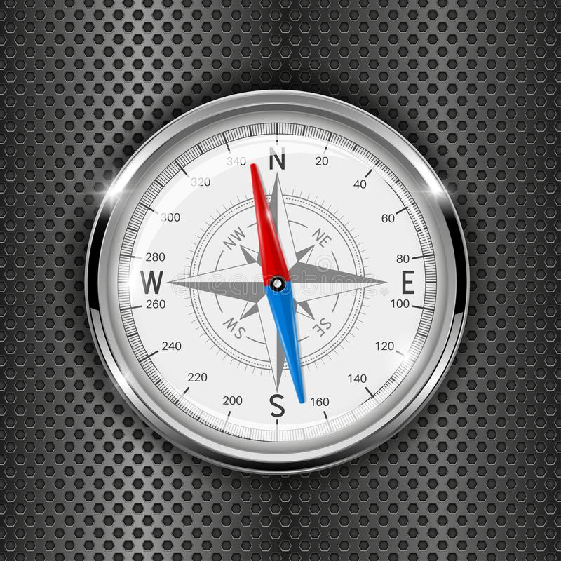 Compass. Metal gauge on iron perforated background stock illustration