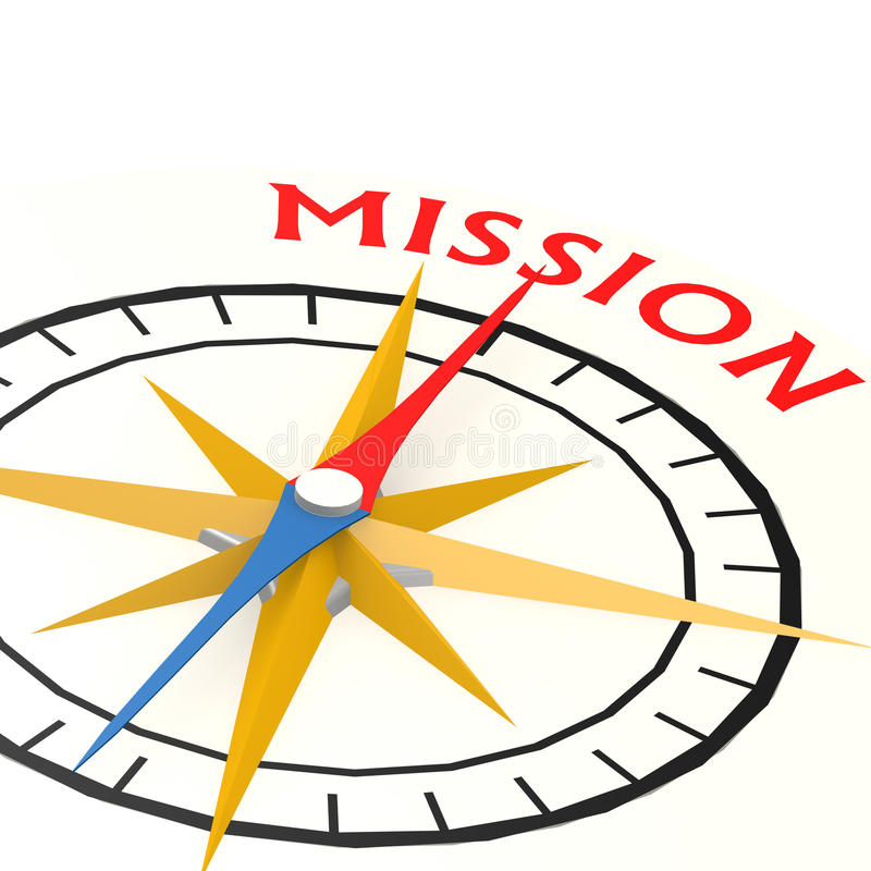Compass with mission word stock illustration