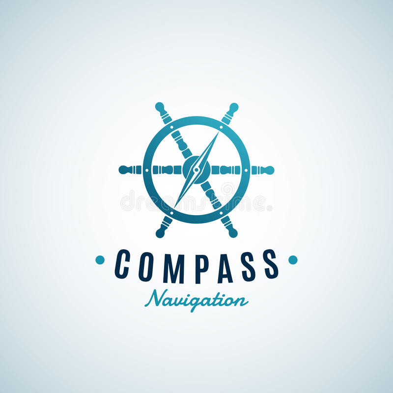 Free Compass Navigation Abstract Vector Sign, Emblem Or Logo Template. Arrow Integrated Into The Steering Wheel Symbol Royalty Free Stock Image - 86614896