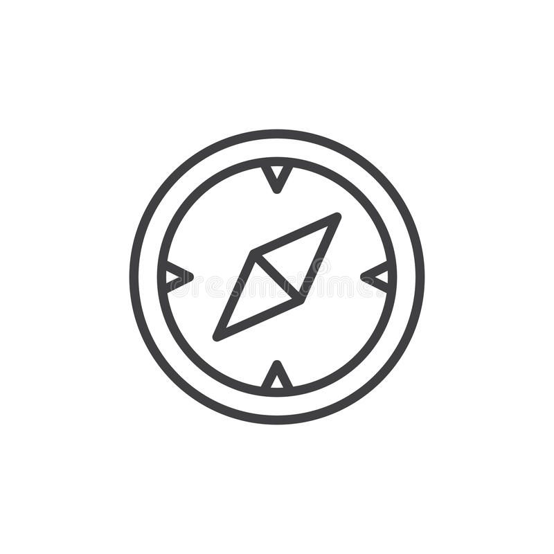 Compass, navigation line icon, outline vector sign, linear style pictogram isolated on white. royalty free illustration