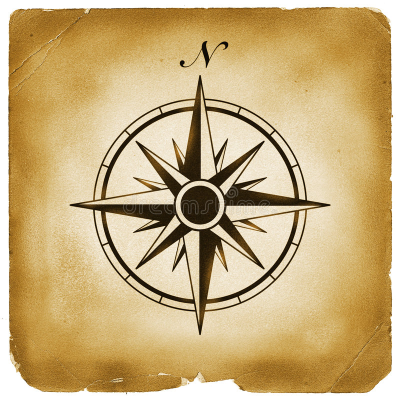 Compass north sign old paper stock illustration
