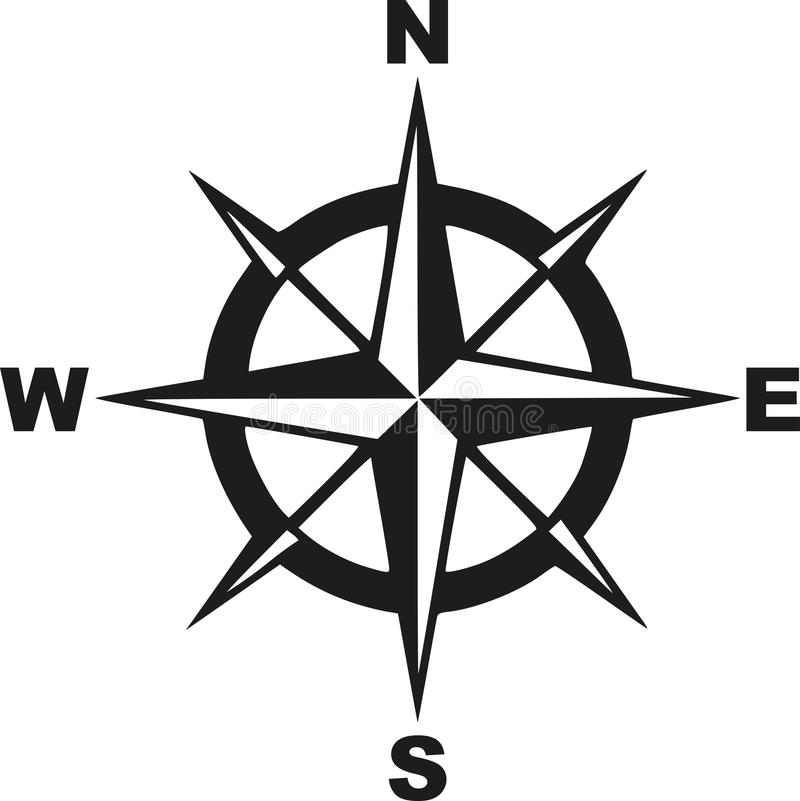 Compass with north south east west stock illustration