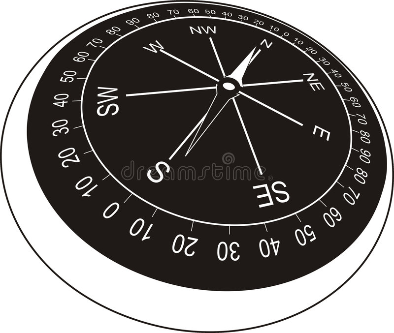 Compass in old style (black) vector illustration