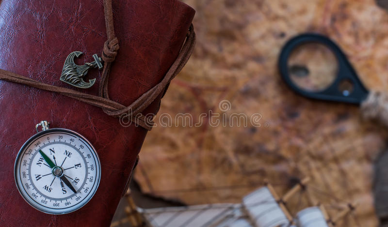 Compass. Old world map for columbus day royalty free stock photo