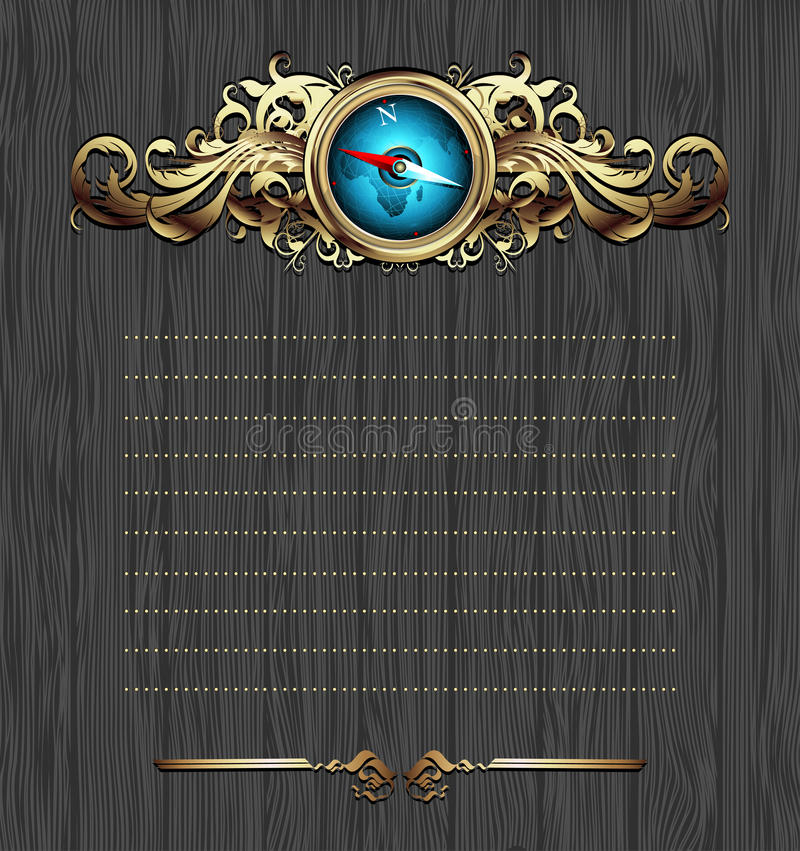 Compass with ornate frame vector illustration