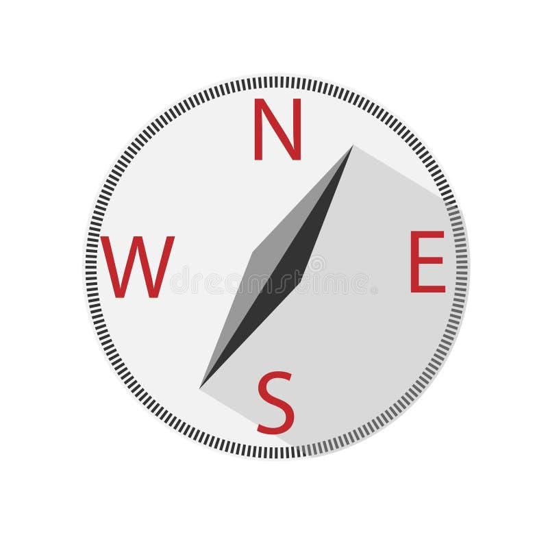 Compass Outline Flat Icon on White. Round compass outline flat icon, isolated on white background. royalty free stock photos