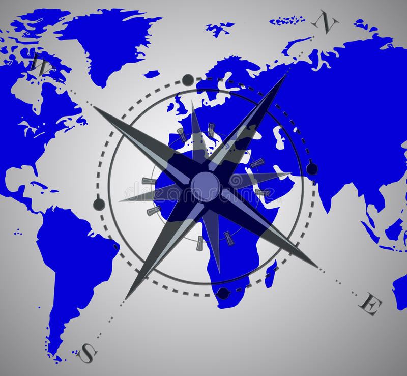 Compass over world map royalty free stock photos