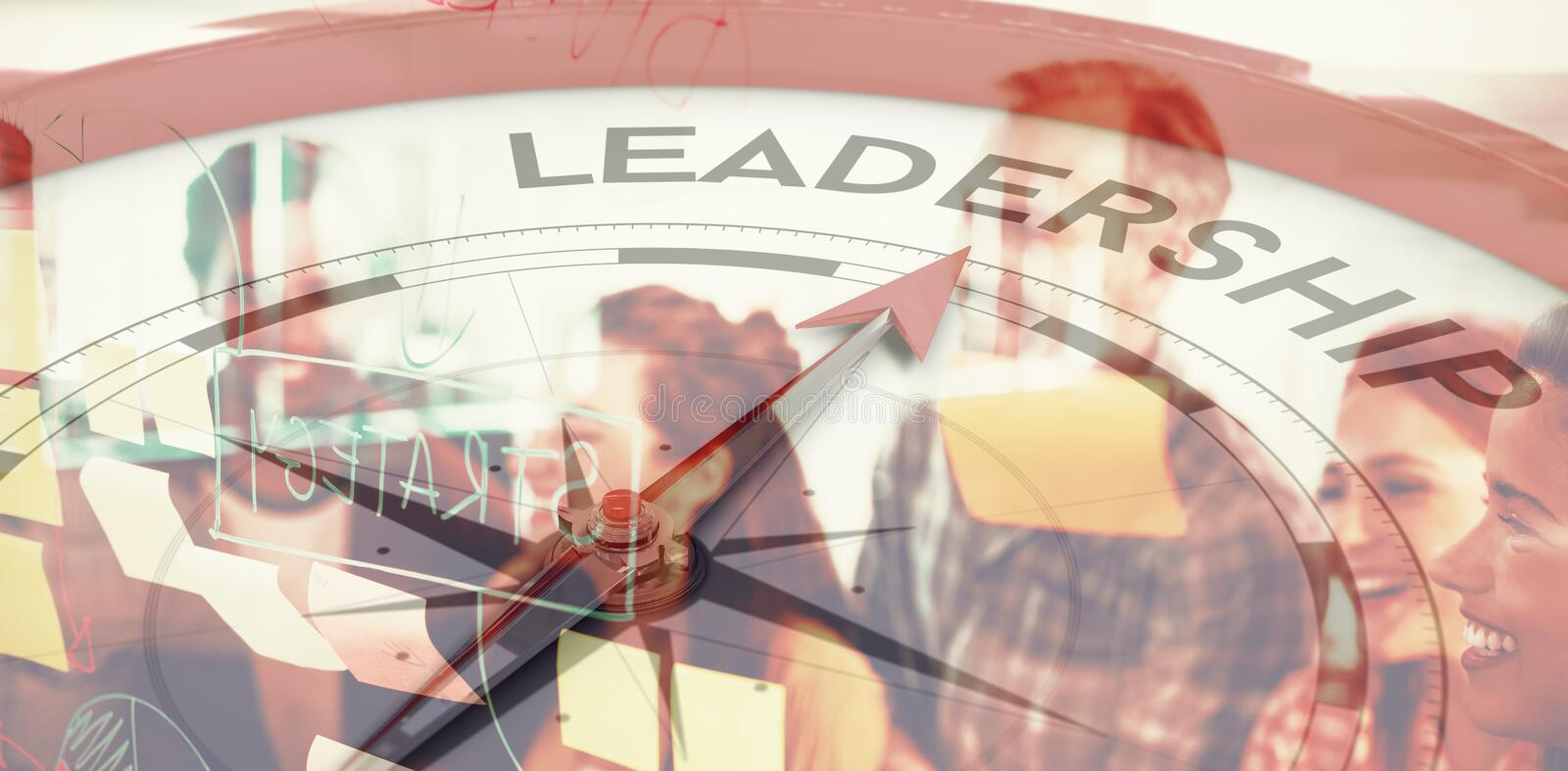 Composite image of compass pointing to leadership stock image