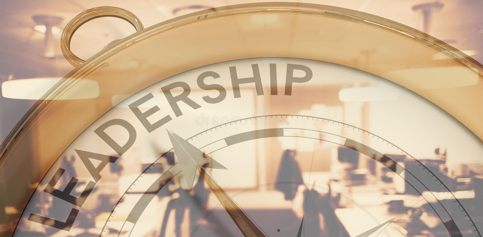 Composite image of compass pointing to leadership royalty free stock photos