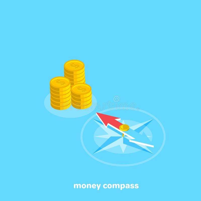 Compass points to a place with money. Isometric image stock illustration