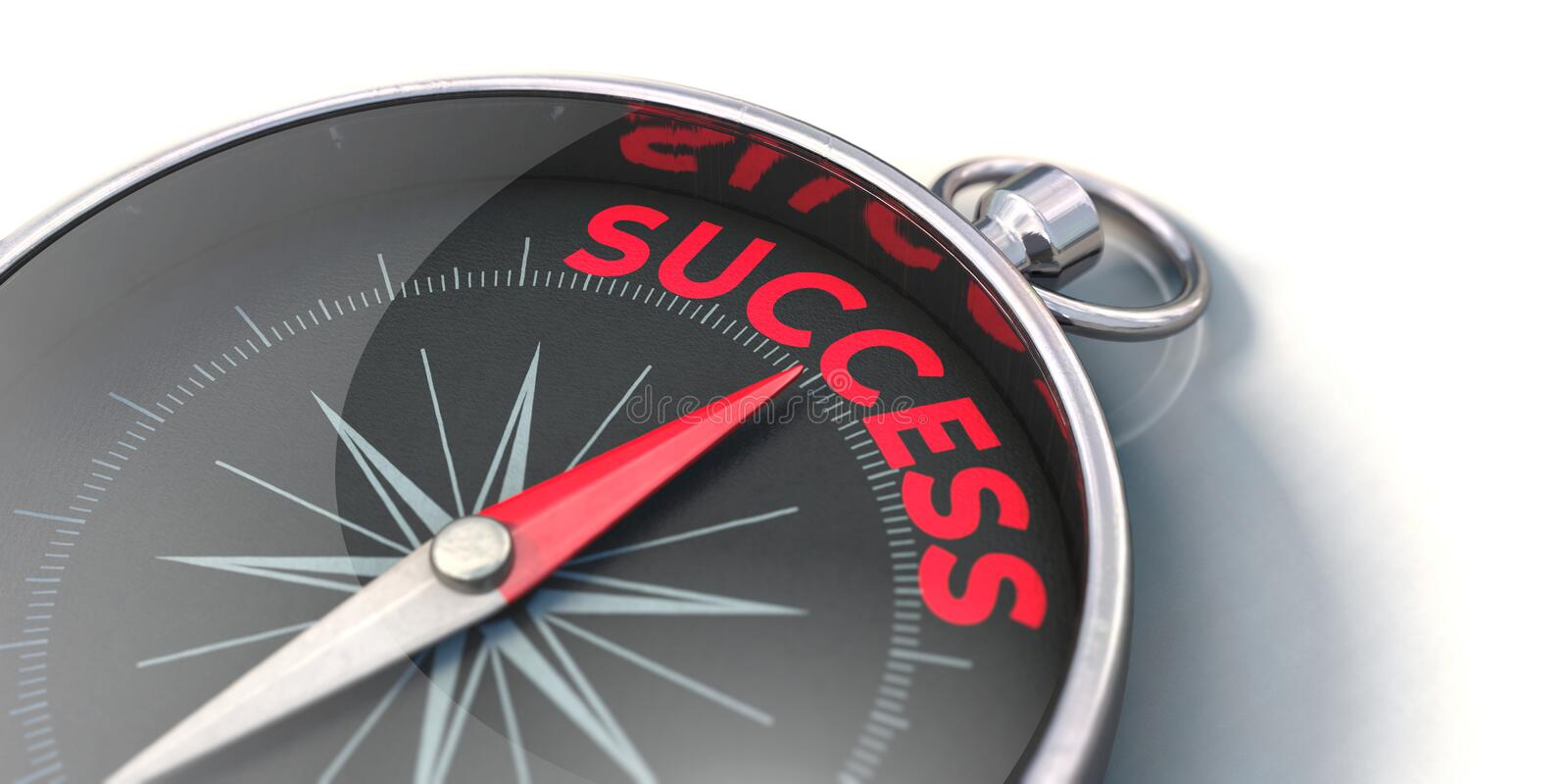 Compass points towards success. 3D illustration, compass with a red needle and red letters stock illustration