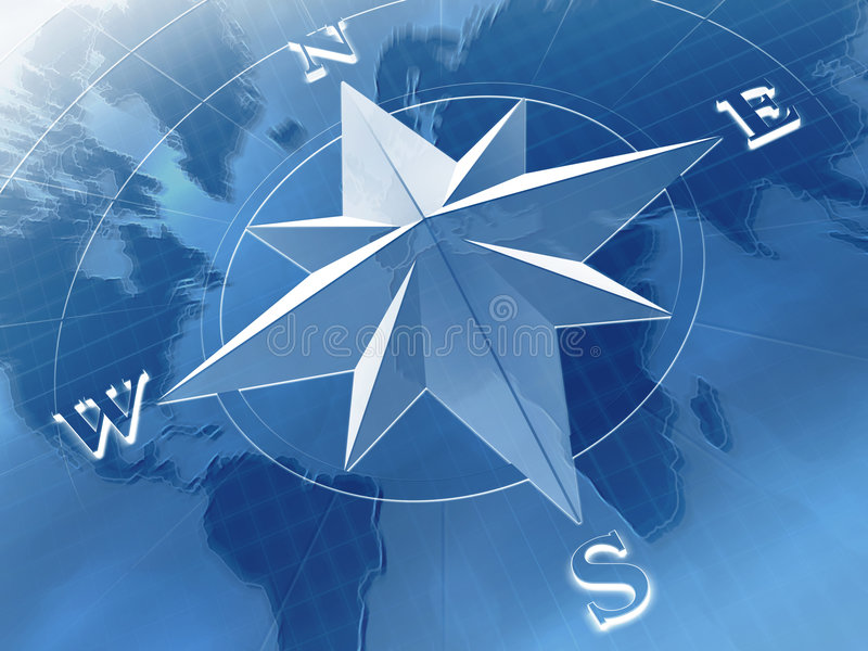 Compass rose. On background of world map vector illustration