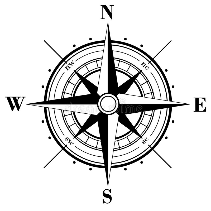 Compass Rose. Black compass rose isolated on whte. Additional vector format in EPS (v. 8