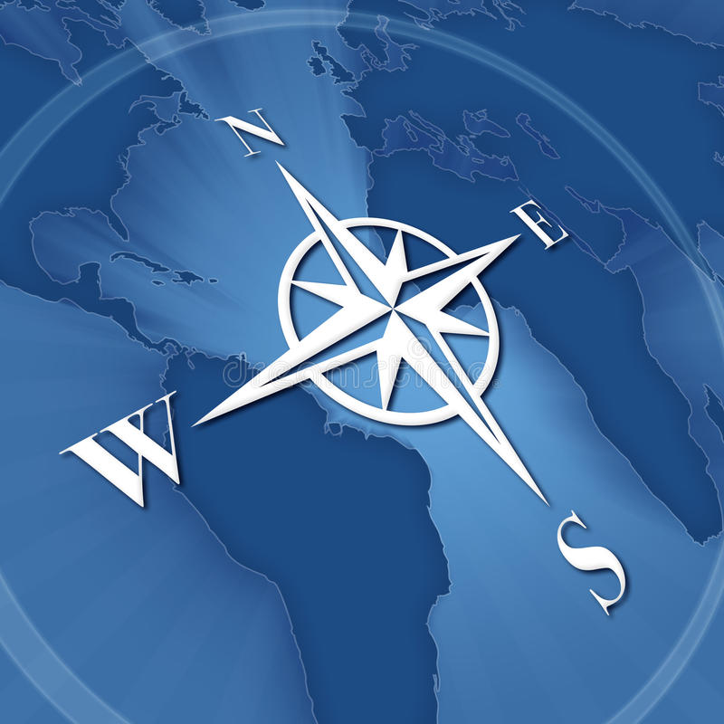 Compass rose. On background of world map royalty free illustration