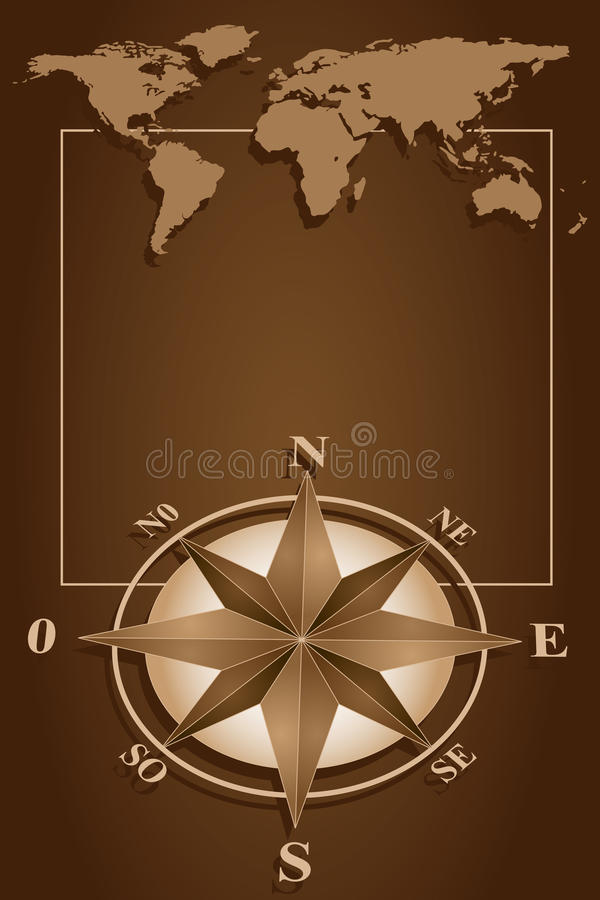 Compass Rose and blanck frame. Map world and blank frame with compass rose, vintage style royalty free illustration
