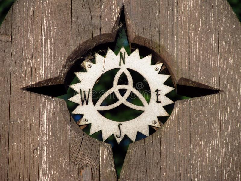 Compass rose. Close photo of nice wooden compass rose royalty free stock photography