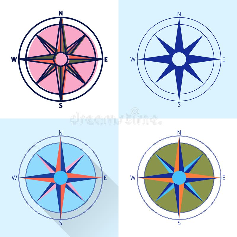 Compass rose icon set in flat and line styles royalty free illustration