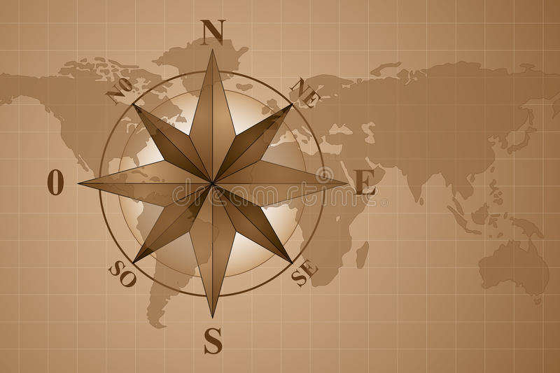 Compass Rose on map world. Map world with compass rose, vintage style stock illustration