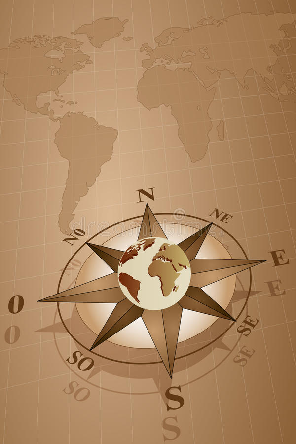 Compass Rose and map world. Map world with compass rose with globe, vintage style vector illustration