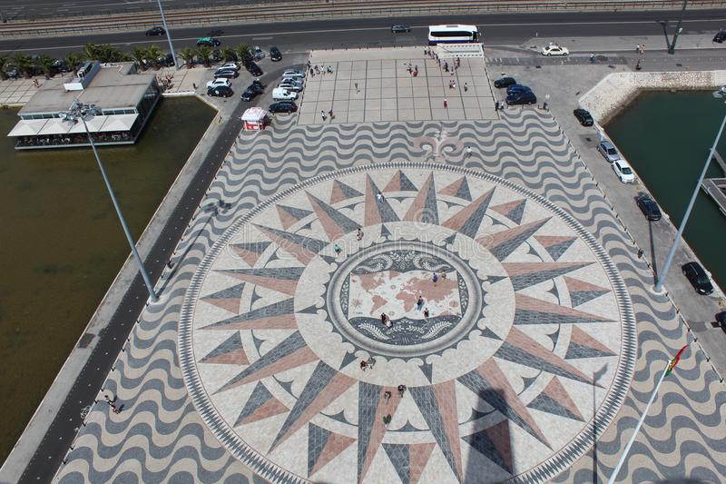Compass Rose and Mappa Mundi, Belem, Lisbon, Portugal. Compass Rose and Mappa Mundi in front of Monument to the Discoveries Portuguese: Padrão dos royalty free stock image