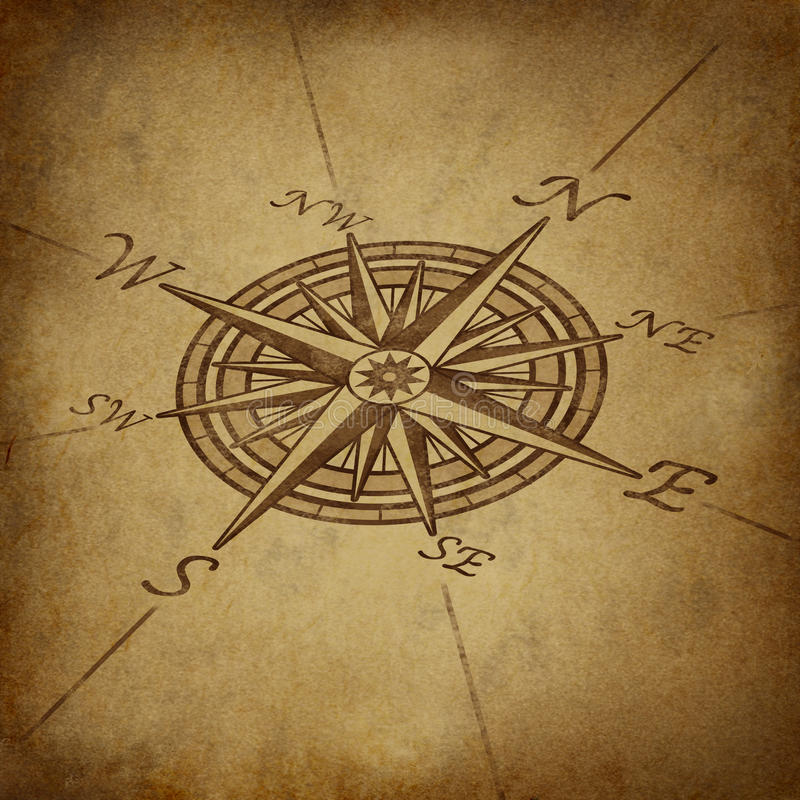 Compass Rose In Perspective With Grunge Texture Stock Images