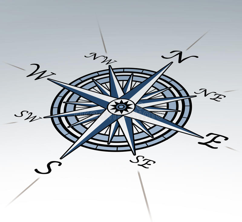 Compass Rose In Perspective On White Background Stock Image