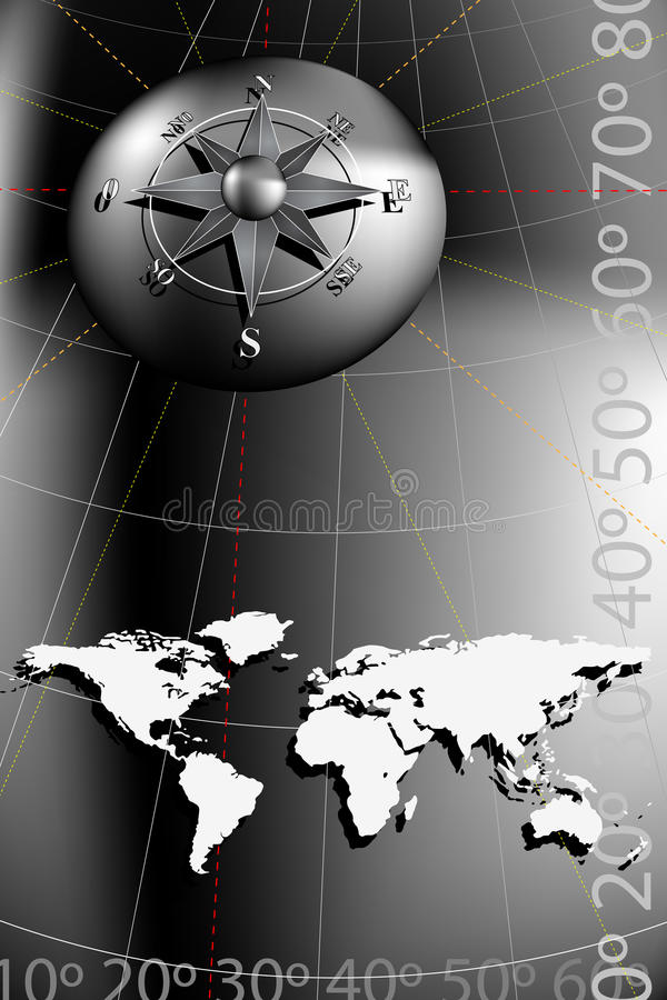 Compass Rose and world map