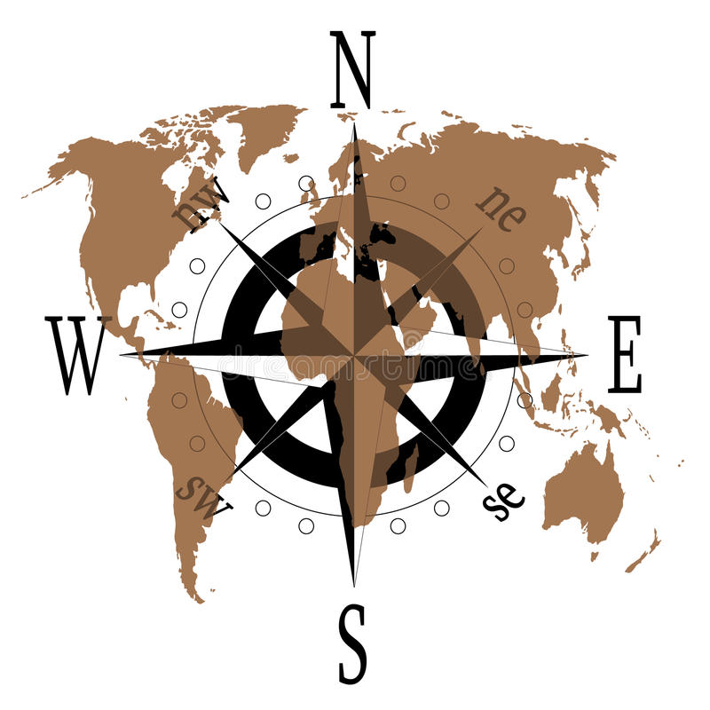 compass rose with world map stock vector - illustration of equipment
