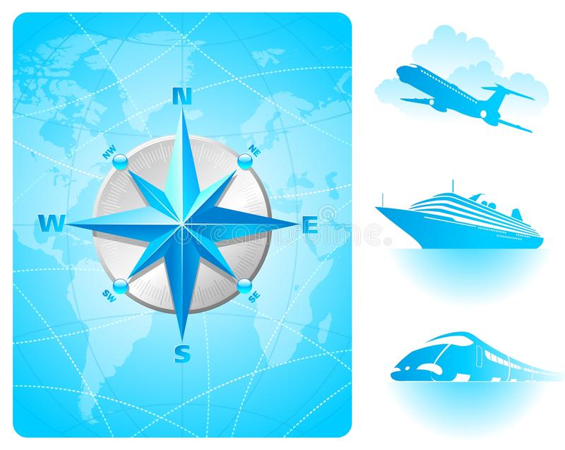 Compass rose, world map & contemporary transport