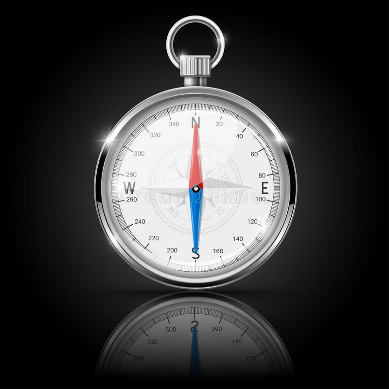 Compass. Round gauge with chrome frame with reflection royalty free illustration
