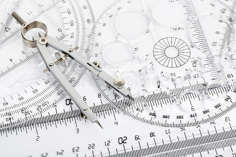 Compass and rulers royalty free stock images