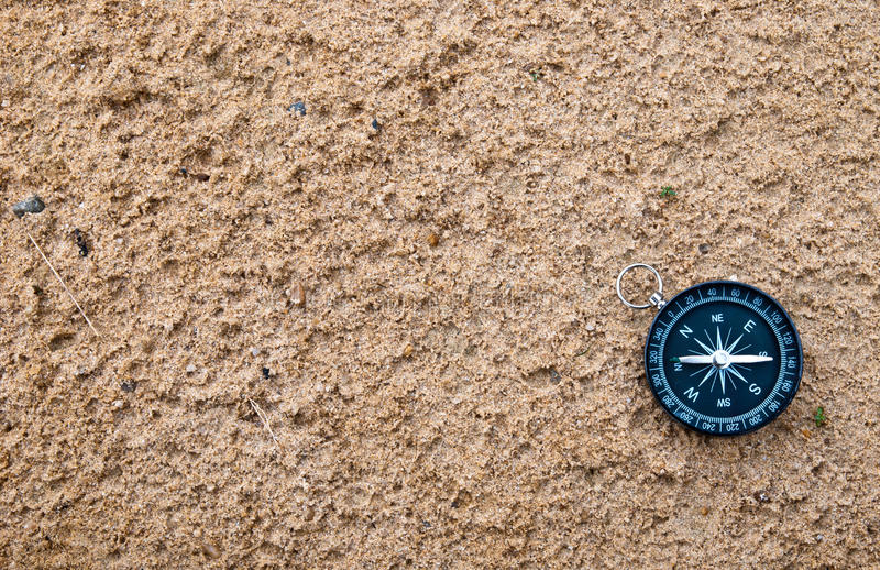 Compass on sand. The compass lying on the sand royalty free stock image