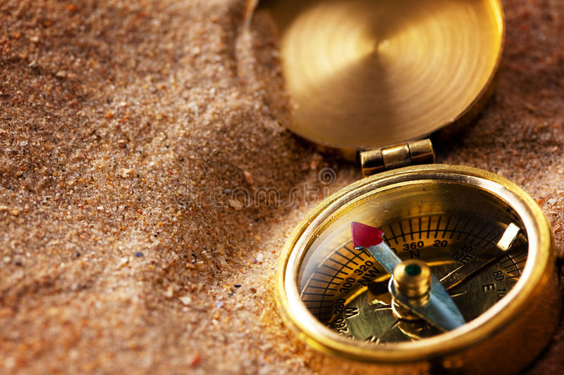 Compass On Sand Stock Images
