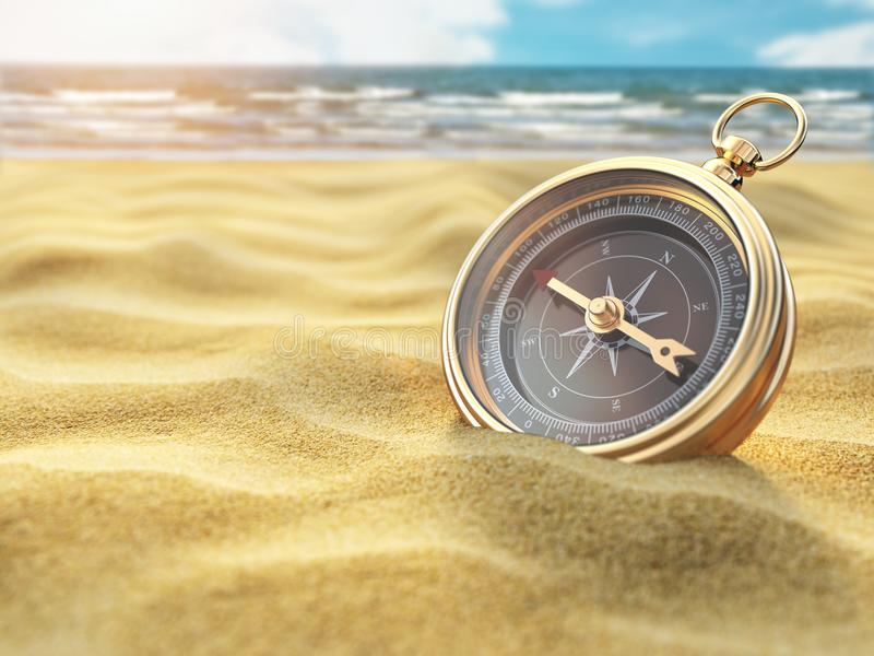 Compass on sea sand. Travel destination and navigation concept. 3d illustration royalty free illustration