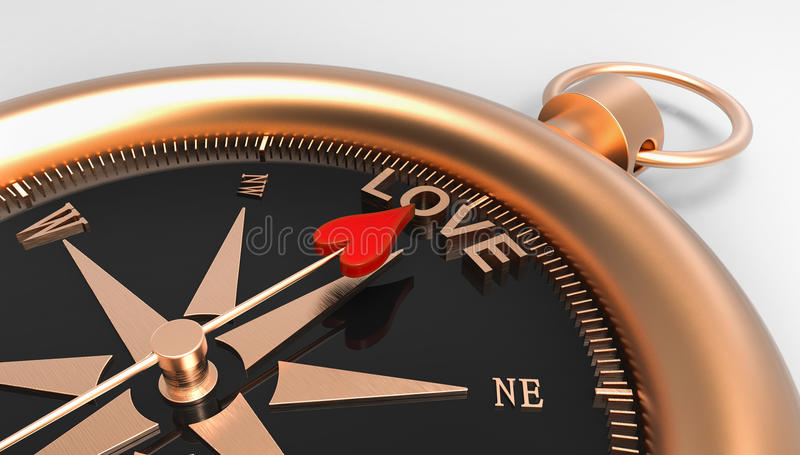 Compass showing direction to love 3d Illustration concept stock illustration