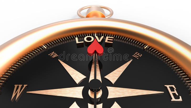 Compass showing direction to love 3d Illustration concept vector illustration